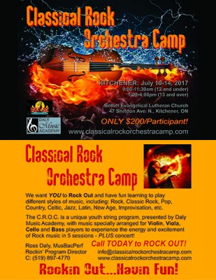 Classical Rock Orchestra Camp: July 10-14, 2017 @ Bethel Evangelical Lutheran Church | Kitchener | Ontario | Canada