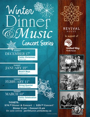 Winter Dinner & Music Concert Series: A Celtic Christmas with Mystic Fyre! @ Revival House | Stratford | Ontario | Canada