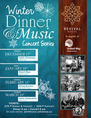 Winter Dinner & Music Concert Series: A Celtic Celebration with Mystic Fyre! @ Revival House   Stratford   Ontario   Canada