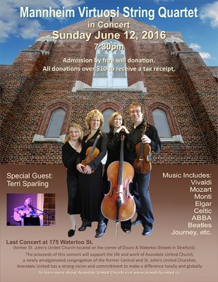 Mannheim Virtuosi String Quartet - Last Concert at 175 Waterloo St., Stratford, ON @ Avondale United Church (former St. John's United Church) | Stratford | Ontario | Canada
