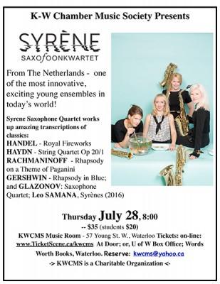 Syrene - Thu July 28 '16 @ KWCMS Music Room   Waterloo   Ontario   Canada